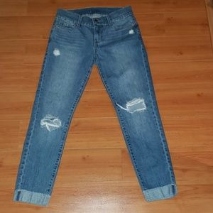 LUCKY COUTURE ~DISTRESSED CUFFED ANKLE JEANS  W26